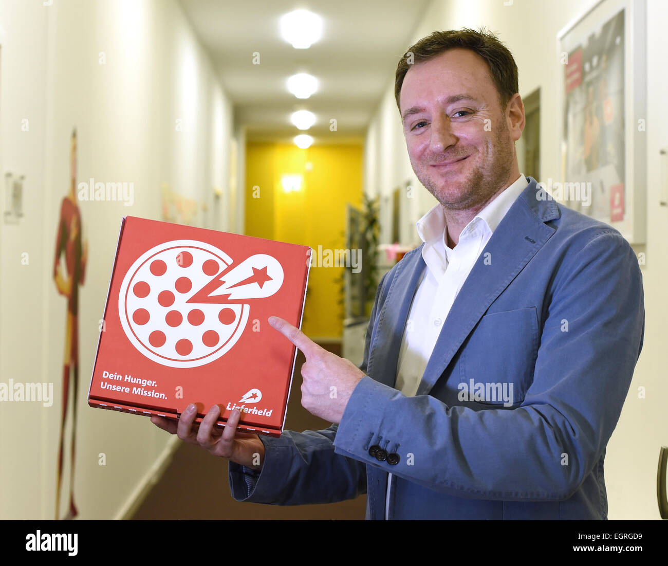 Berlin, Germany. 24th Feb, 2015. The CEO of online order and delivery platform 'Lieferheld', David Rodriguez, - Stock Image