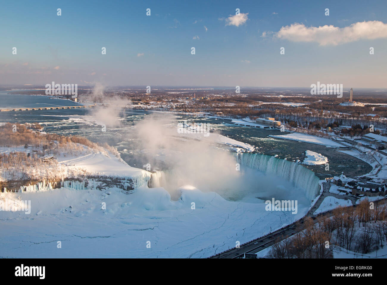 Niagara Falls, Ontario - Niagara Falls in winter. The Canadian Falls, or Horseshoe Falls, is at right. - Stock Image