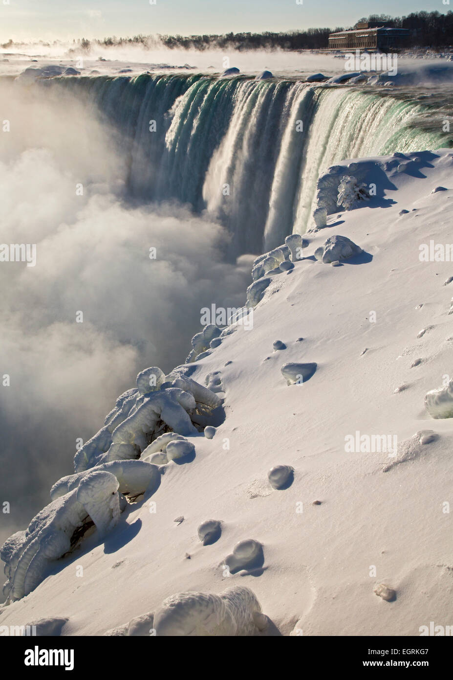 Niagara Falls, Ontario - Niagara Falls' Canadian Falls, or Horseshoe Falls, in winter. - Stock Image