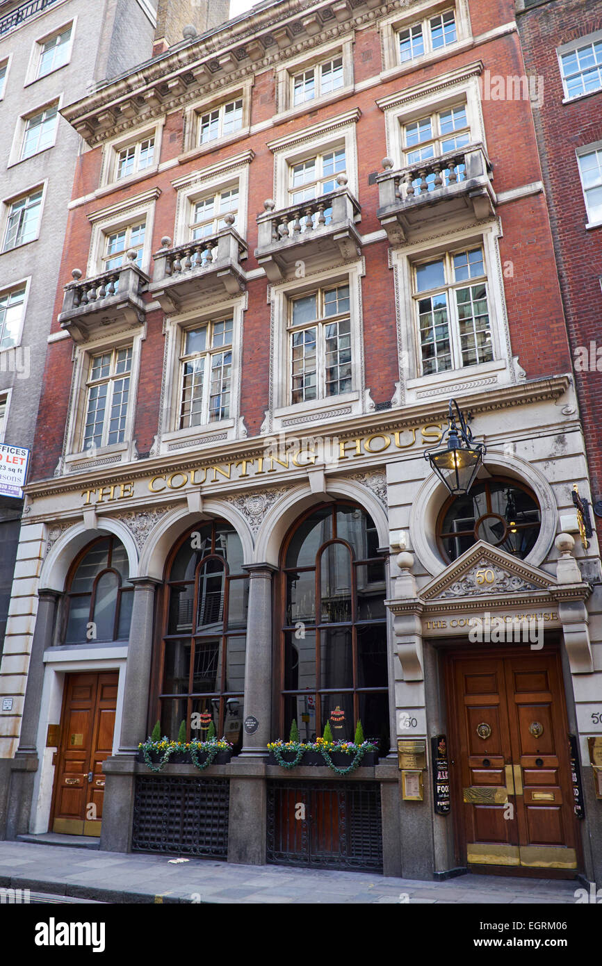 The Counting House A Former Banking House Now A Pub Cornhill City Of London UK - Stock Image