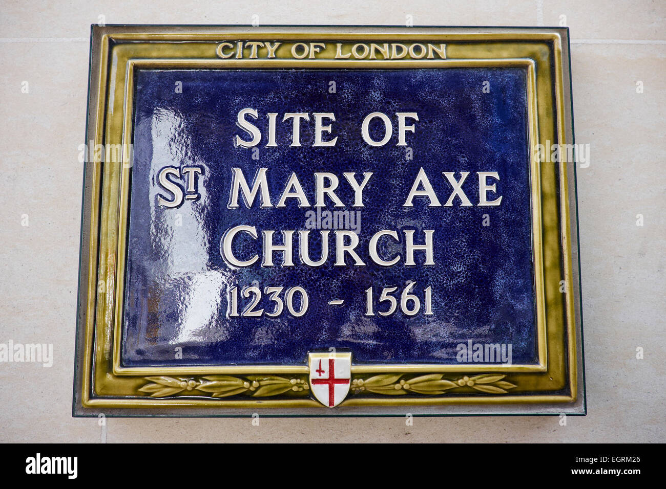 Blue Plaque Marking The Former Site Of St Mary Axe Church City Of London UK - Stock Image