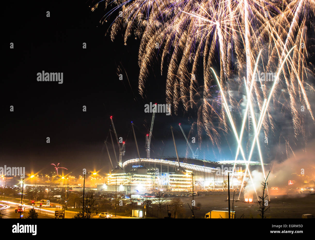 Etihad Stadium and fireworks before Bonfire Night Champions League match, Manchester City v. CSKA Moscow - Stock Image