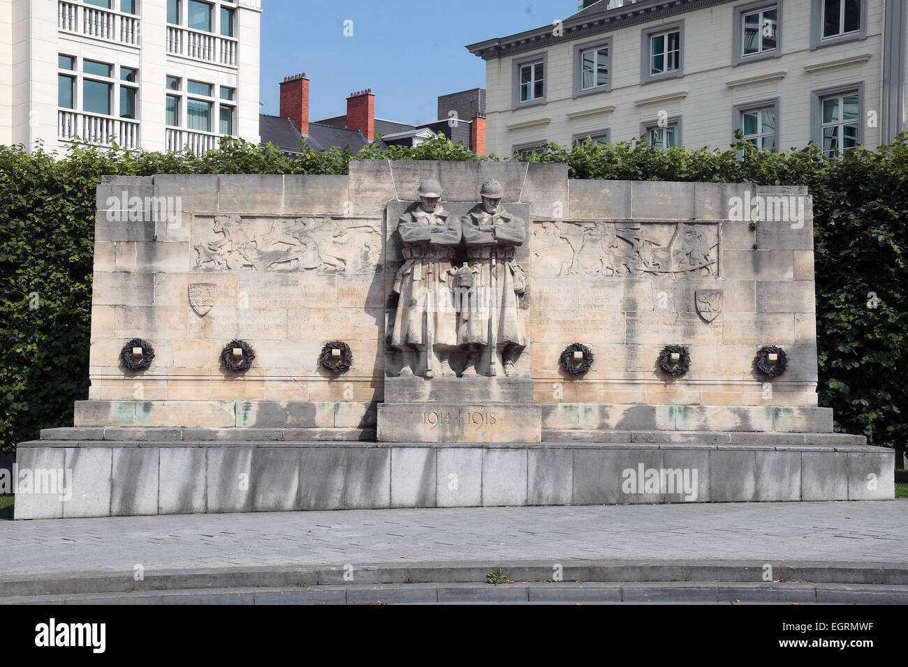 The Anglo-Belgian Memorial commemorates the co-operation between Great Britain and Belgium in WWI in Brussels, Belgium. - Stock Image