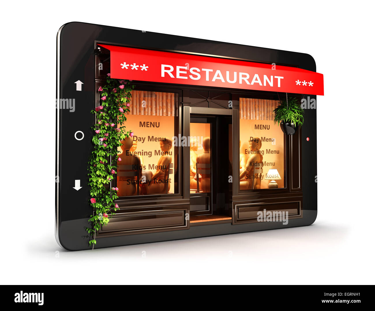 3d restaurant inside tablet, isolated white background, 3d image Stock Photo