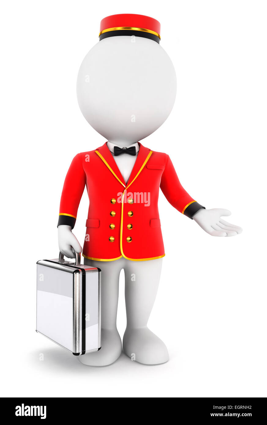 3d white people bellboy, isolated white background, 3d image Stock Photo
