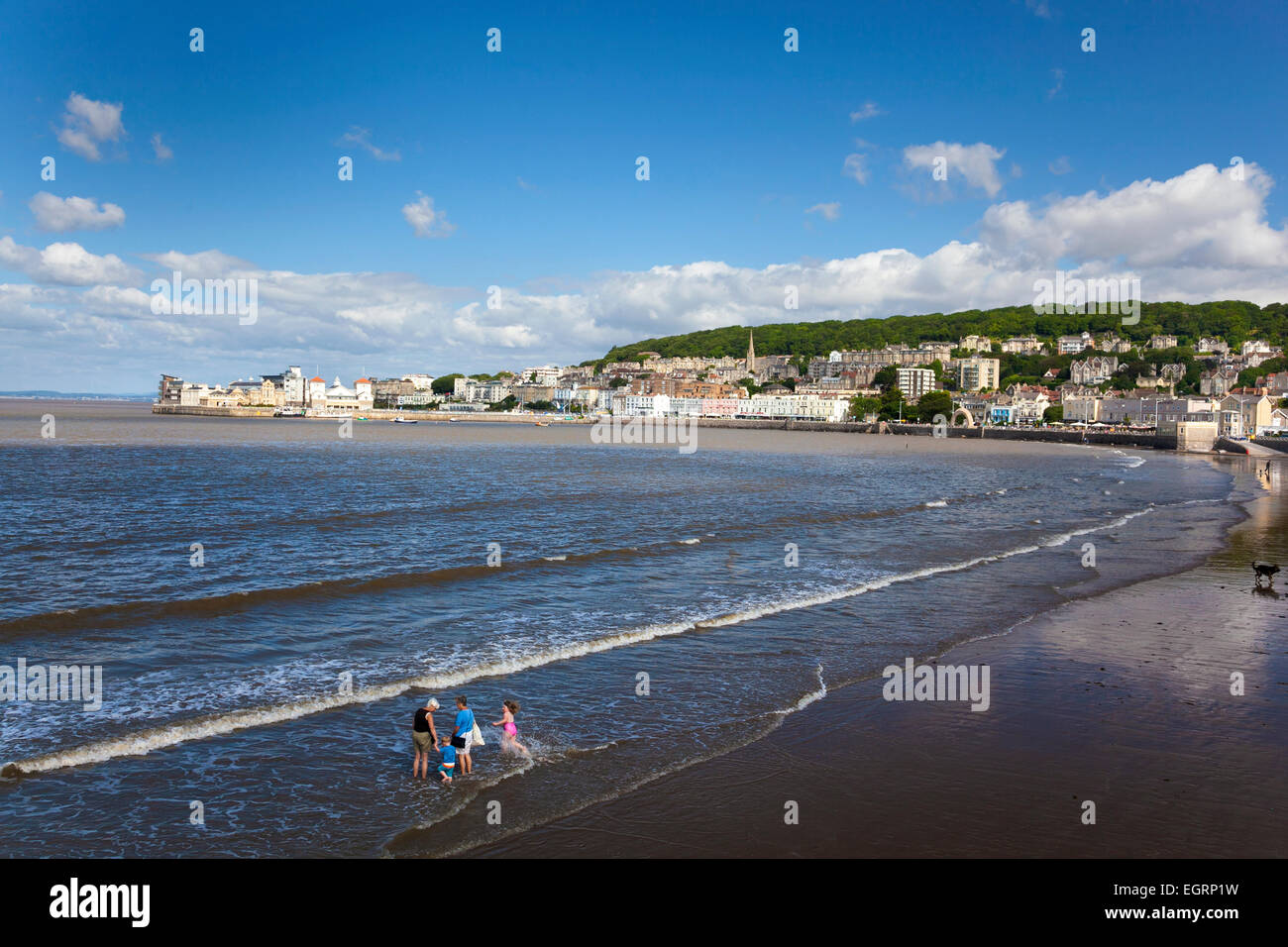 Beach in Weston-super-Mare, Somerset, England - Stock Image