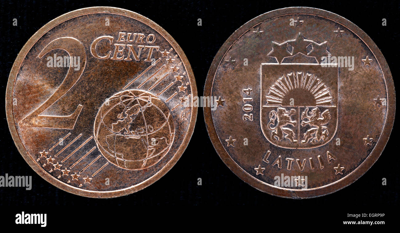 2 Euro Cents Coin Latvia 2014 Stock Image