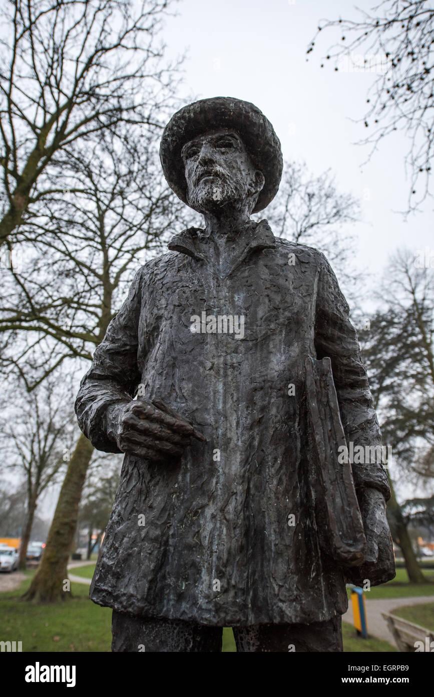 Bronze statue of Vincent Van Gogh Nuenen Holland - Stock Image