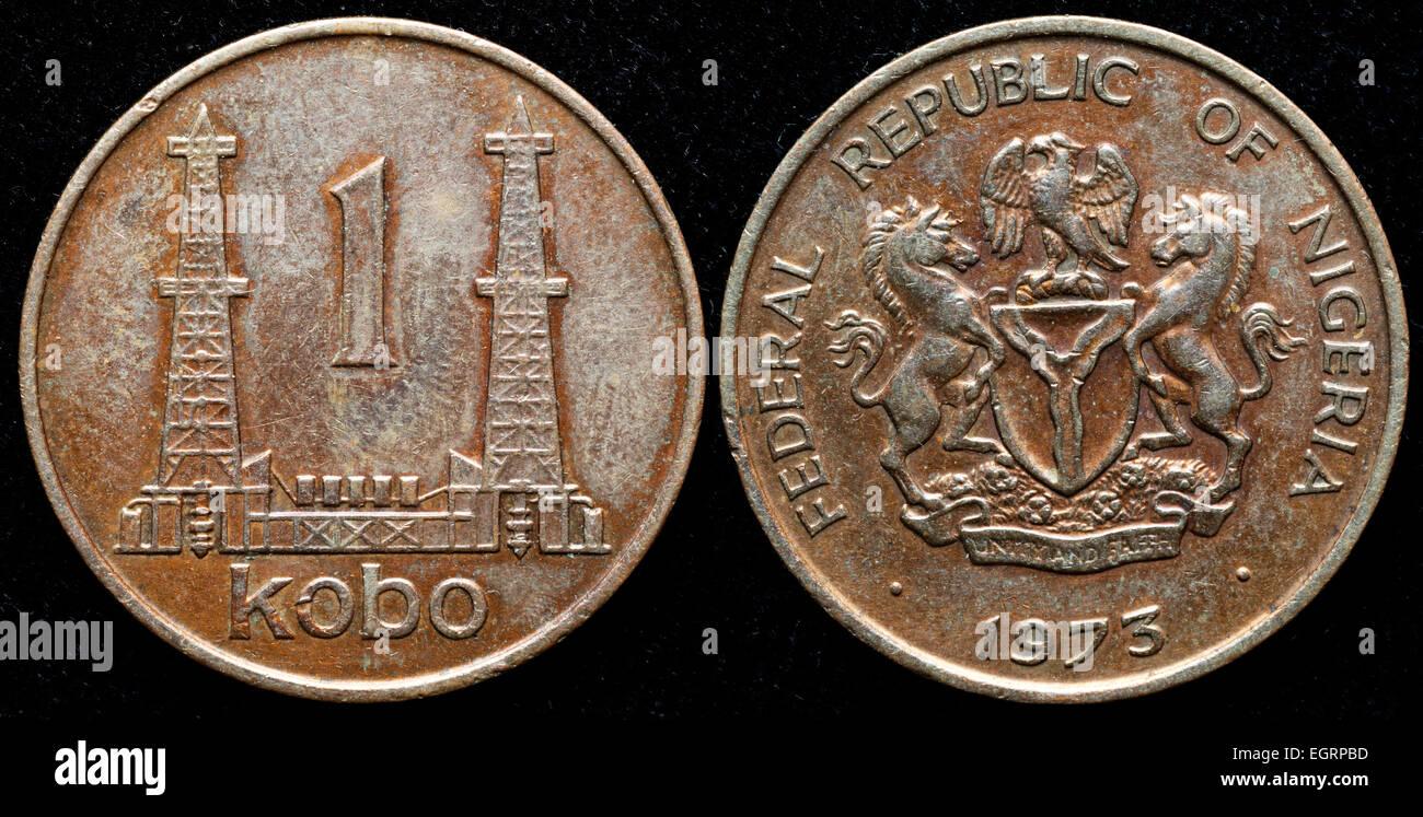 1 kobo coin, Oil derrick, Nigeria, 1975 - Stock Image