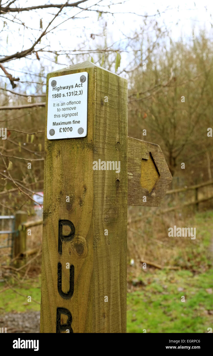 Theft warning sign on a public footpath sign 1 March 2015 - Stock Image