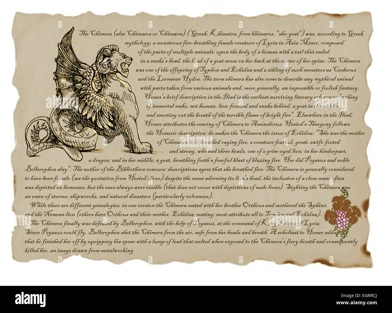 An hand drawn illustration with a description of mystical monster: Chimera - Stock Image