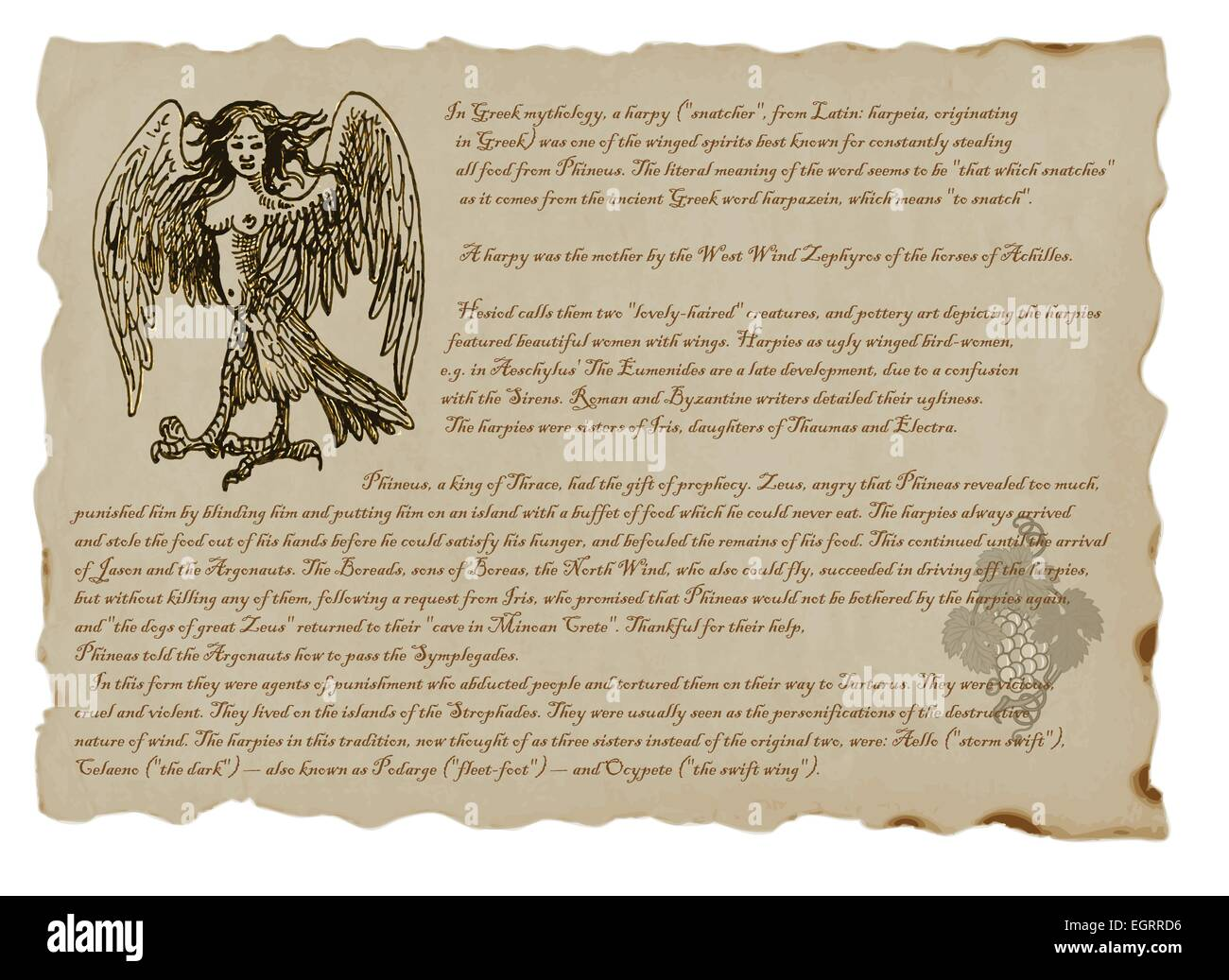 An hand drawn illustration with a description of mystical monster: Harpy - Stock Image