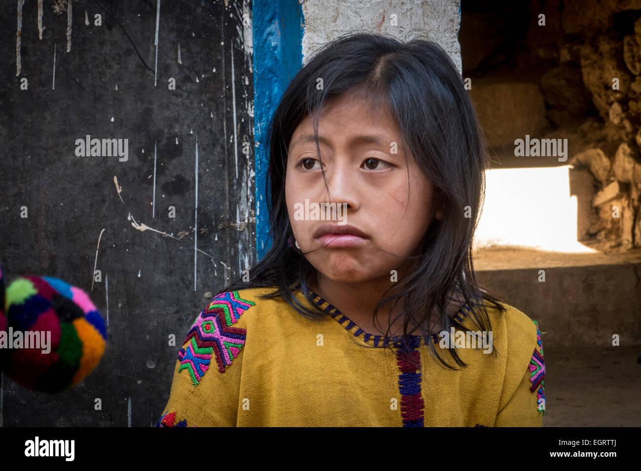 Portrait of Maya Indian girl - Stock Image
