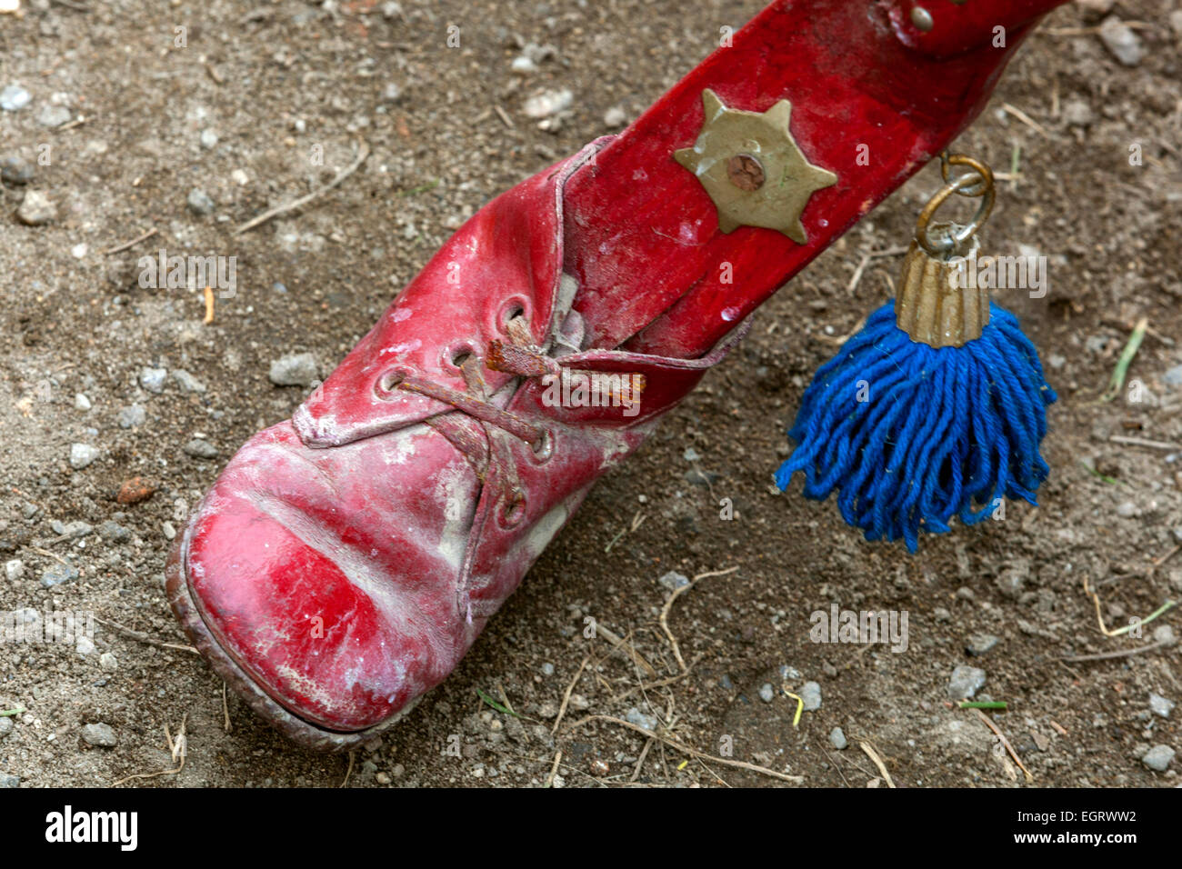 red shoe on Musical instrument - vozembouch - Stock Image