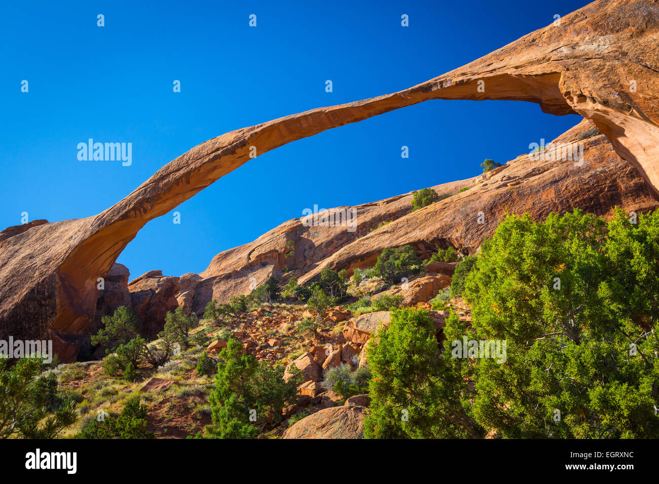 Landscape Arch in Arches National Park, a US National Park in eastern Utah. - Stock Image