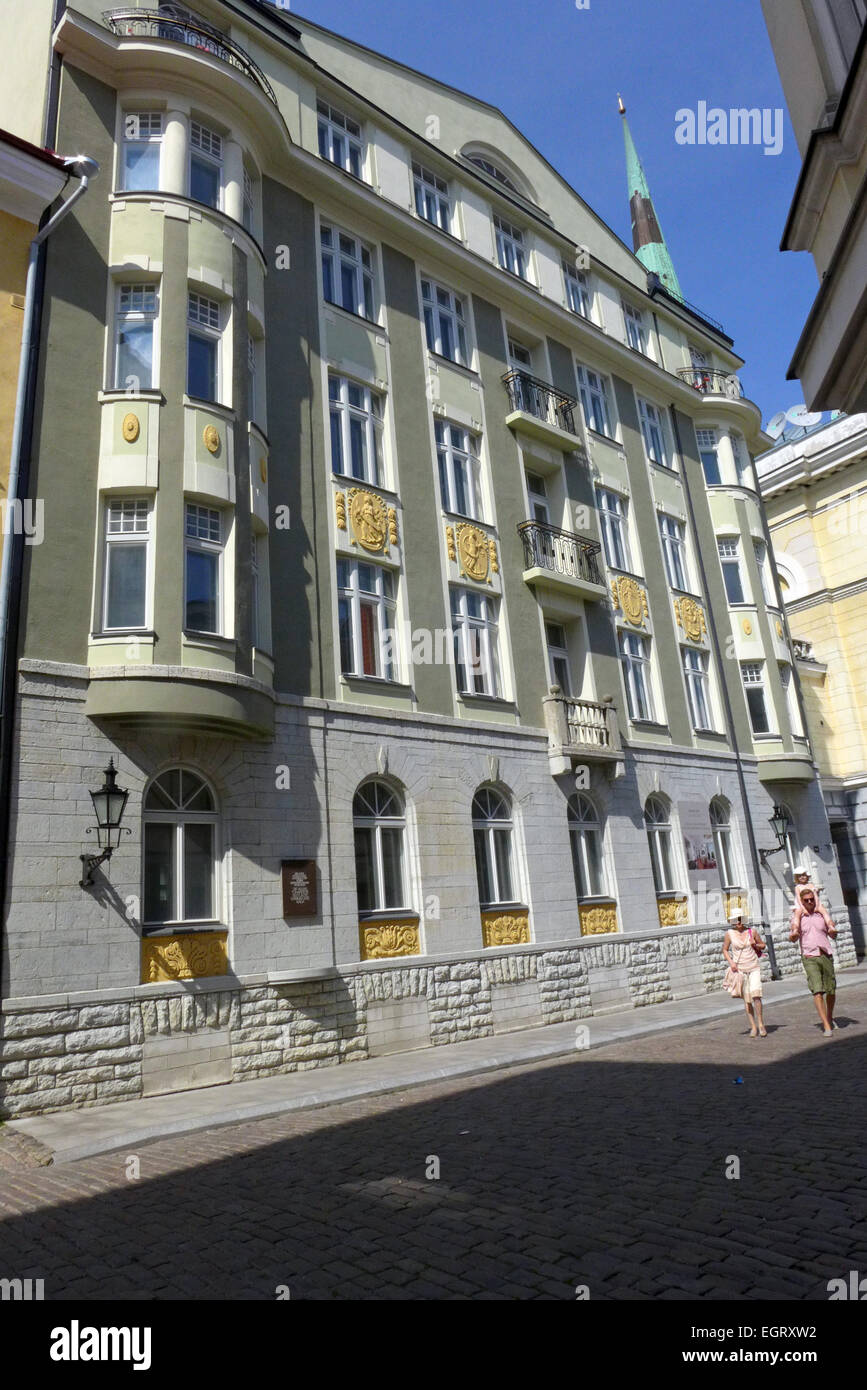 The former KGB building at 59 Pikk Street in Tallinn Estonia. Cellar windows were blocked to prevent sounds of torture. - Stock Image