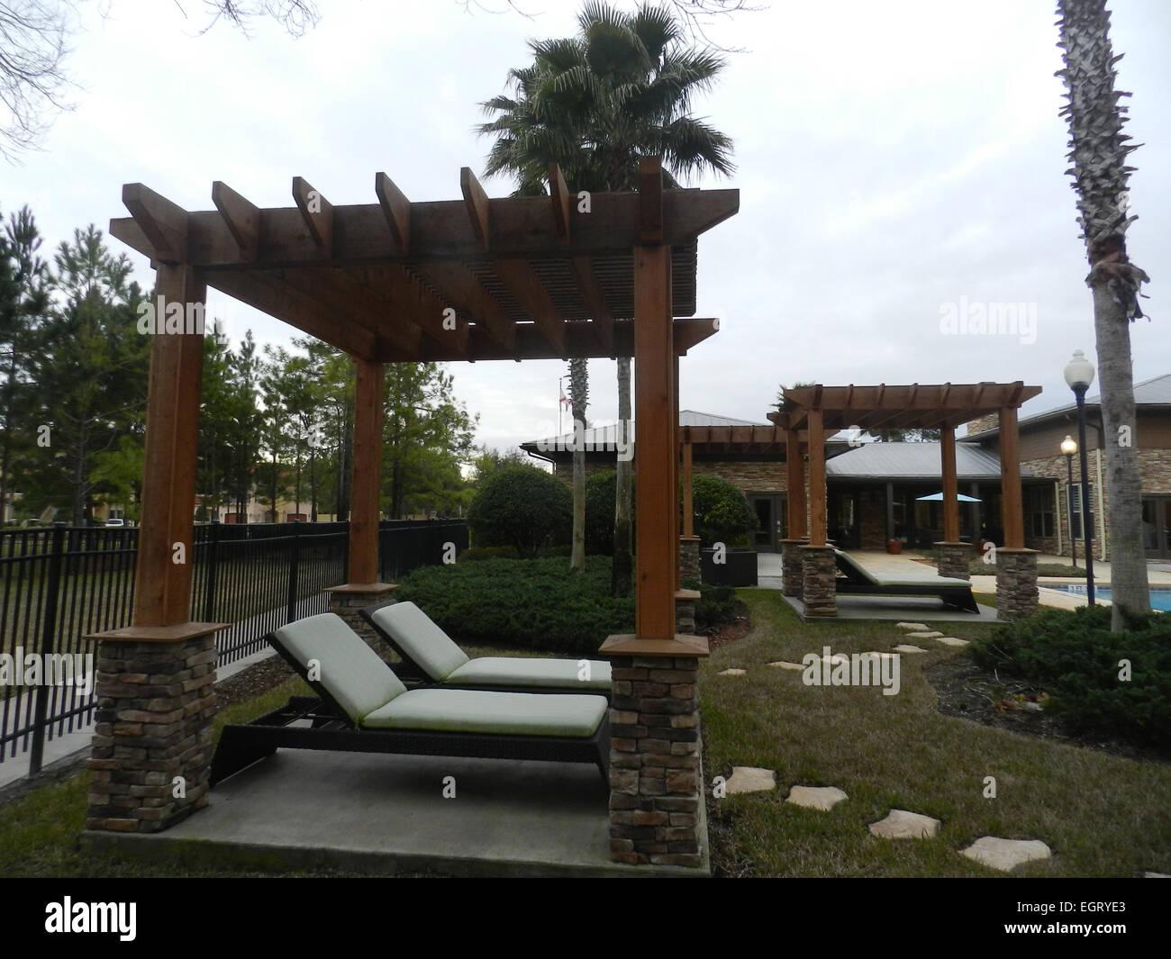 Garden Terrace In Mediterranean Style Environment   Condominium Style In  Florida   Stock Image