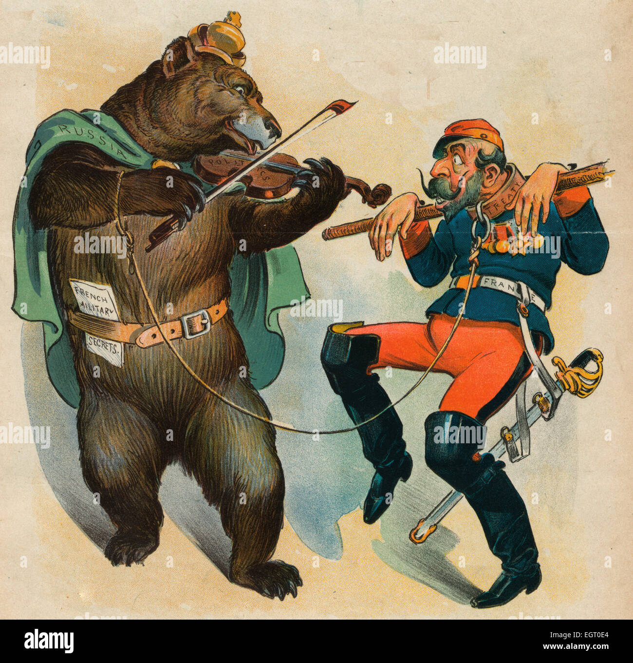 The Russian French Alliance - Russian Bear playing a fiddle labeled 'Politics', around it's waist is - Stock Image