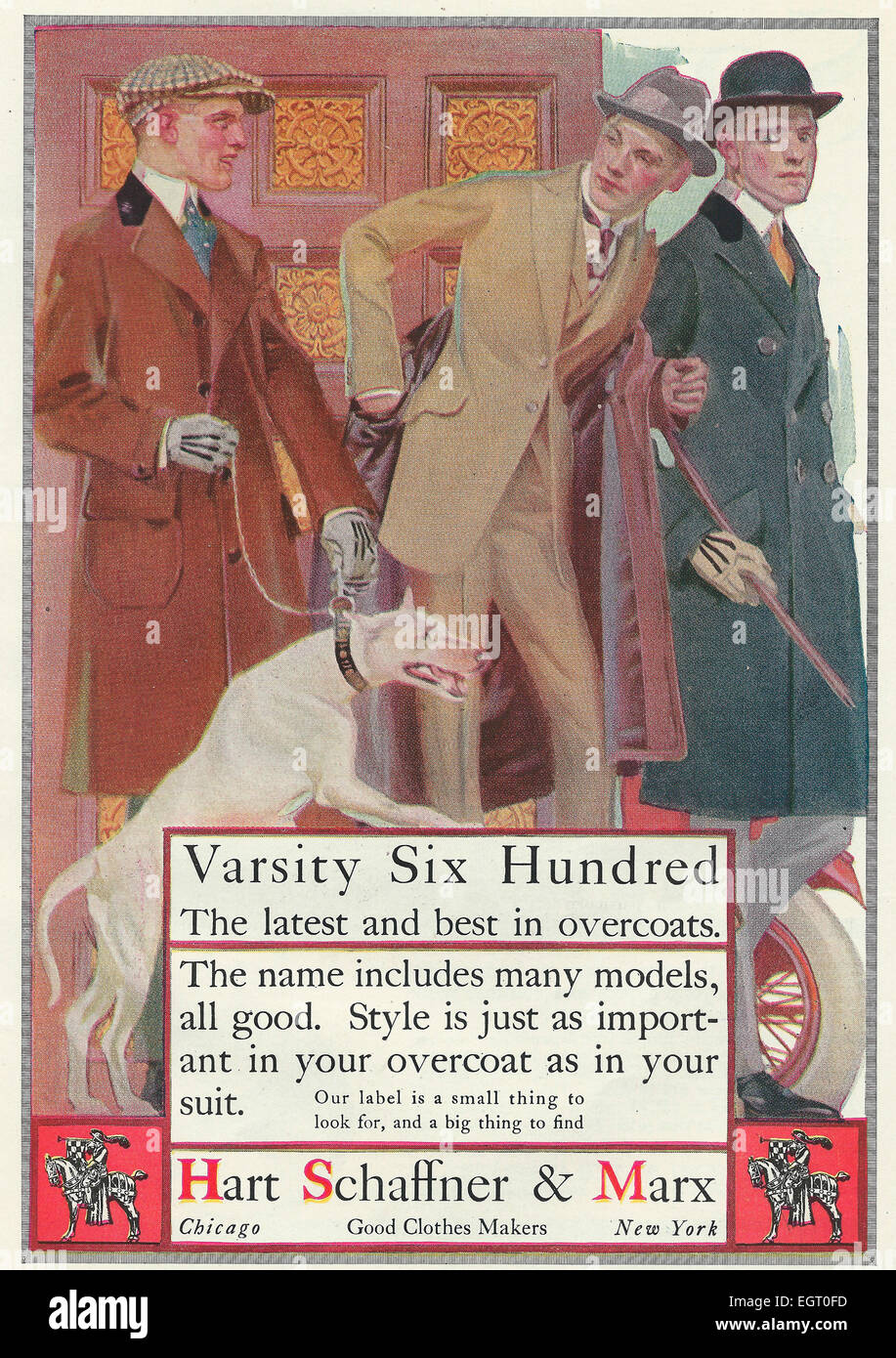 Varsity Six Hundred - The latest and best in overcoats  - Hart Schaffner & Marx - Advertisement 1916 - Stock Image
