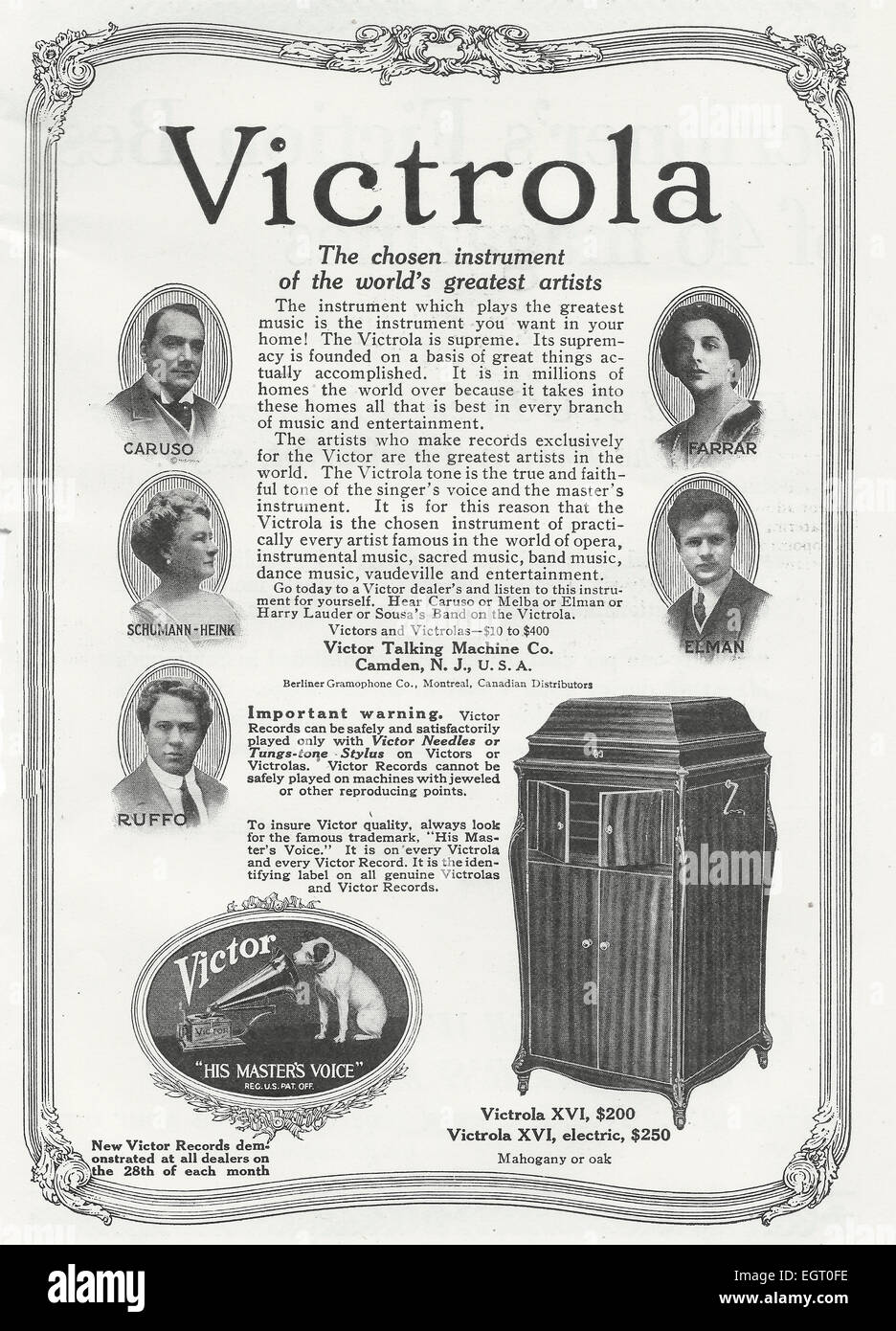 Victrola Advertisement, circa 1916 - Stock Image