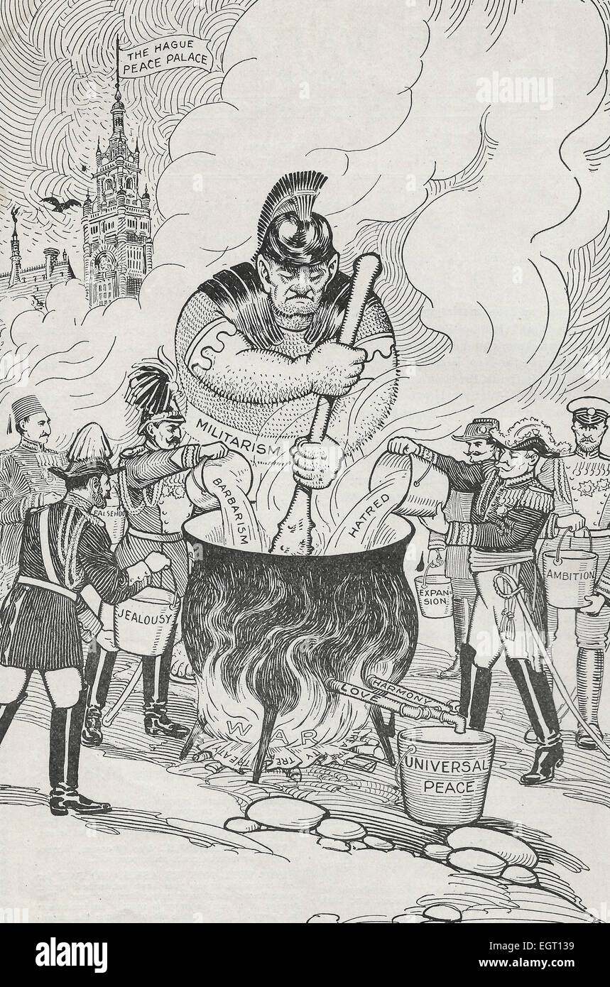 1915 Satirical Political Cartoon showing Militarism stirring a pot that ambition, jealousy, barbarism and hatred - Stock Image