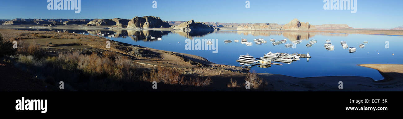 panoramic view of low water level of Wahweap Marina during drought at Lake Powell; Page; Arizona; United States Stock Photo