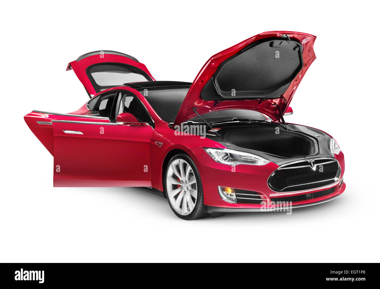 Tesla Model S P85d Electric Car With Open Doors And Hood Isolated On