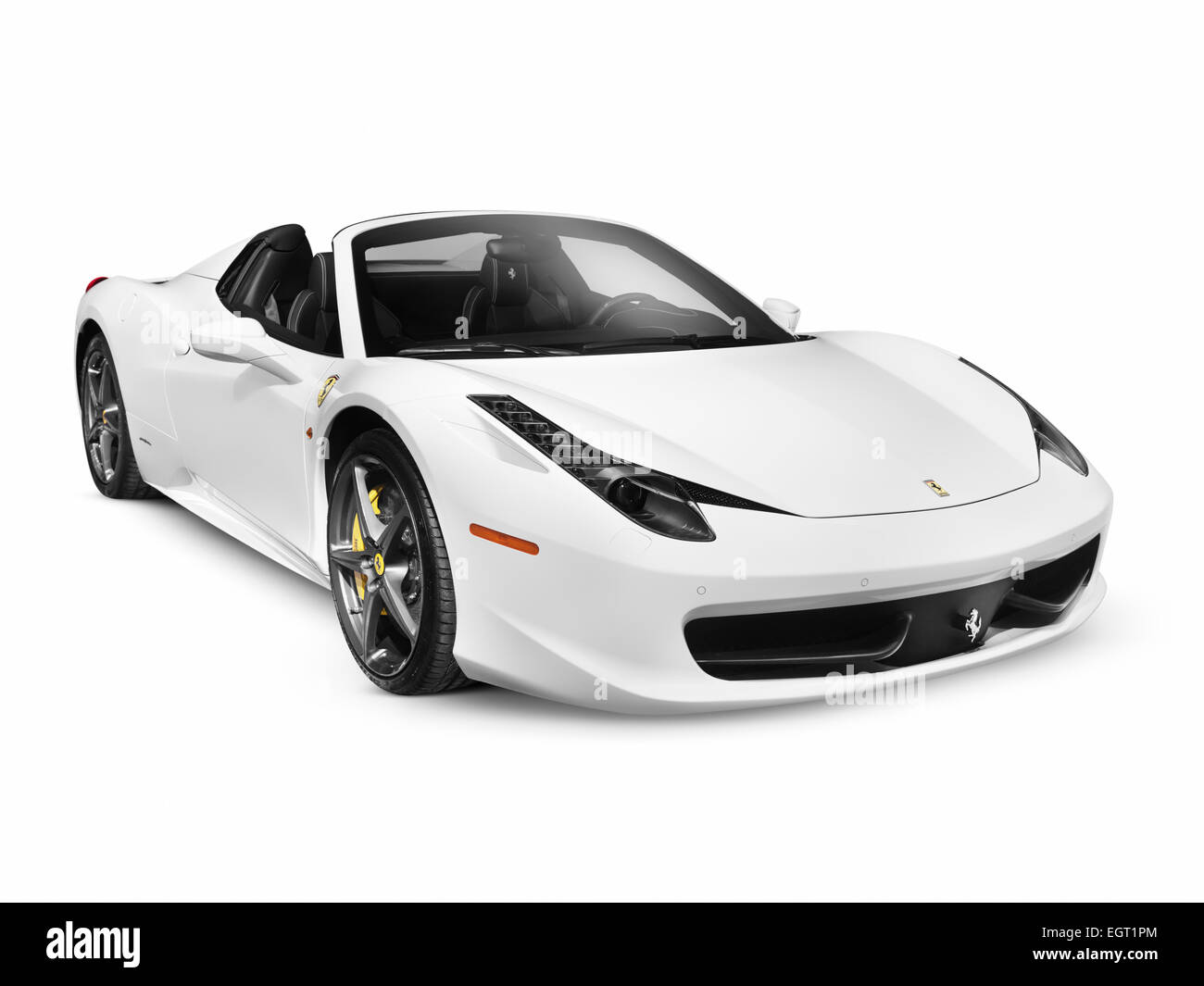 White 2011 Ferrari 458 Spider Supercar Sports Car. Isolated On White  Background With Clipping Path.