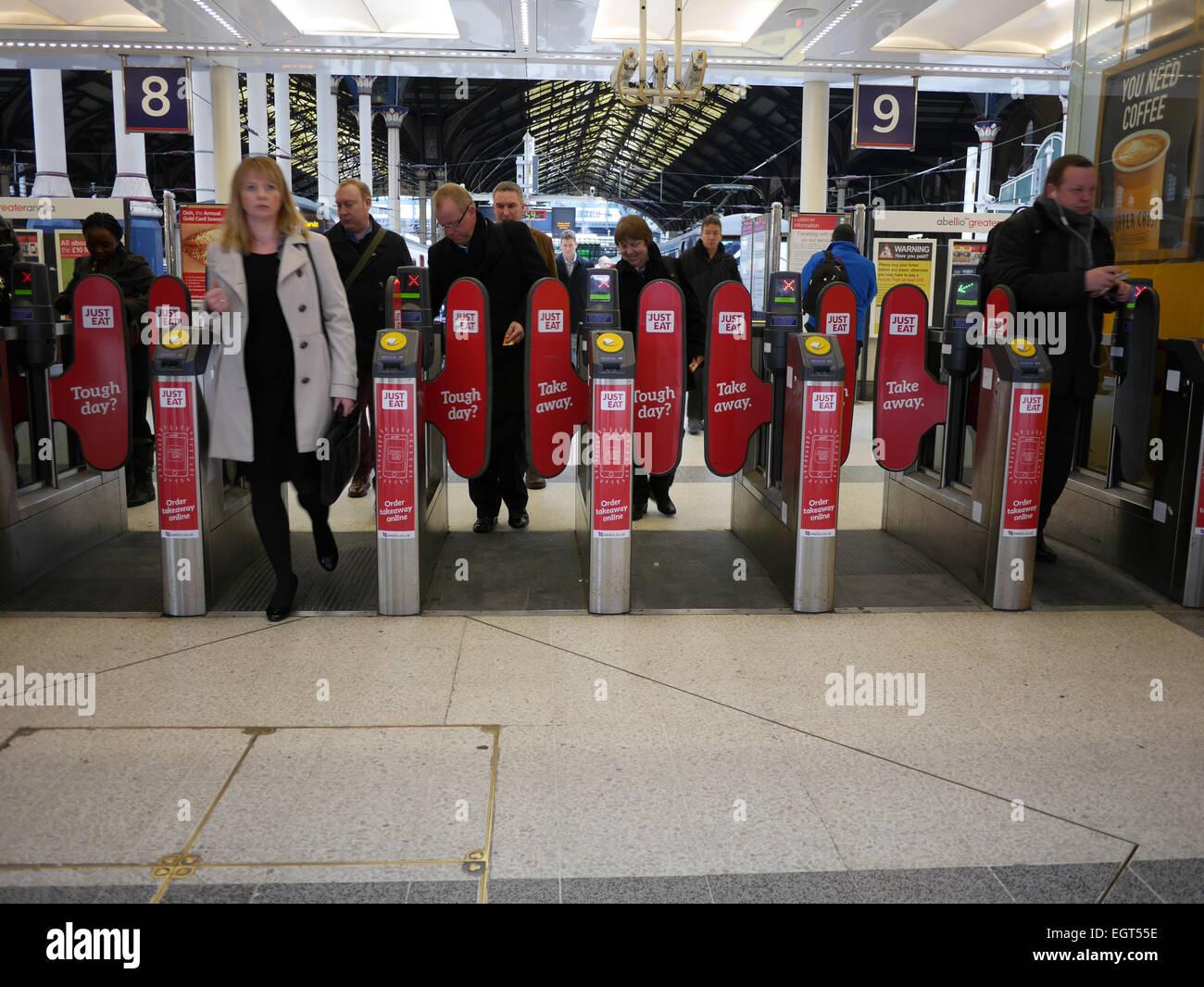 Liverpool Street Station Commuters Walk Through Barriers