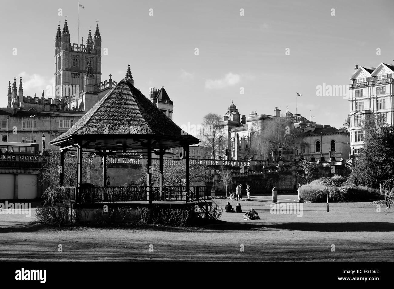 Bath, England, UK - 18 Feb 2015: Bayj Abbey viewed from Parade Gardens, Bath - Stock Image