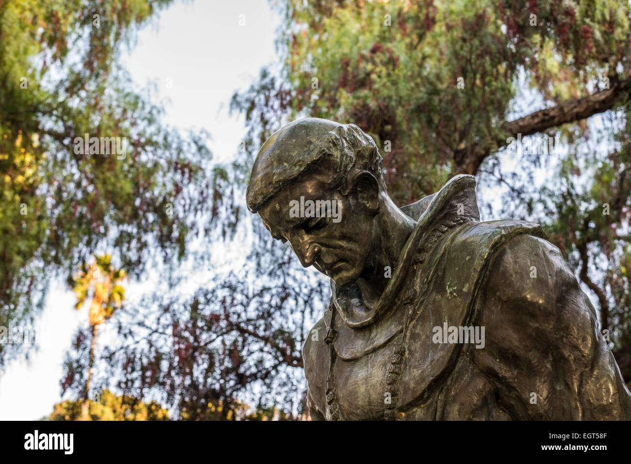 """""""The Padre"""" statue (by Arthur Putnam) in black and white.  Presidio Park, San Diego, California, United States. Stock Photo"""