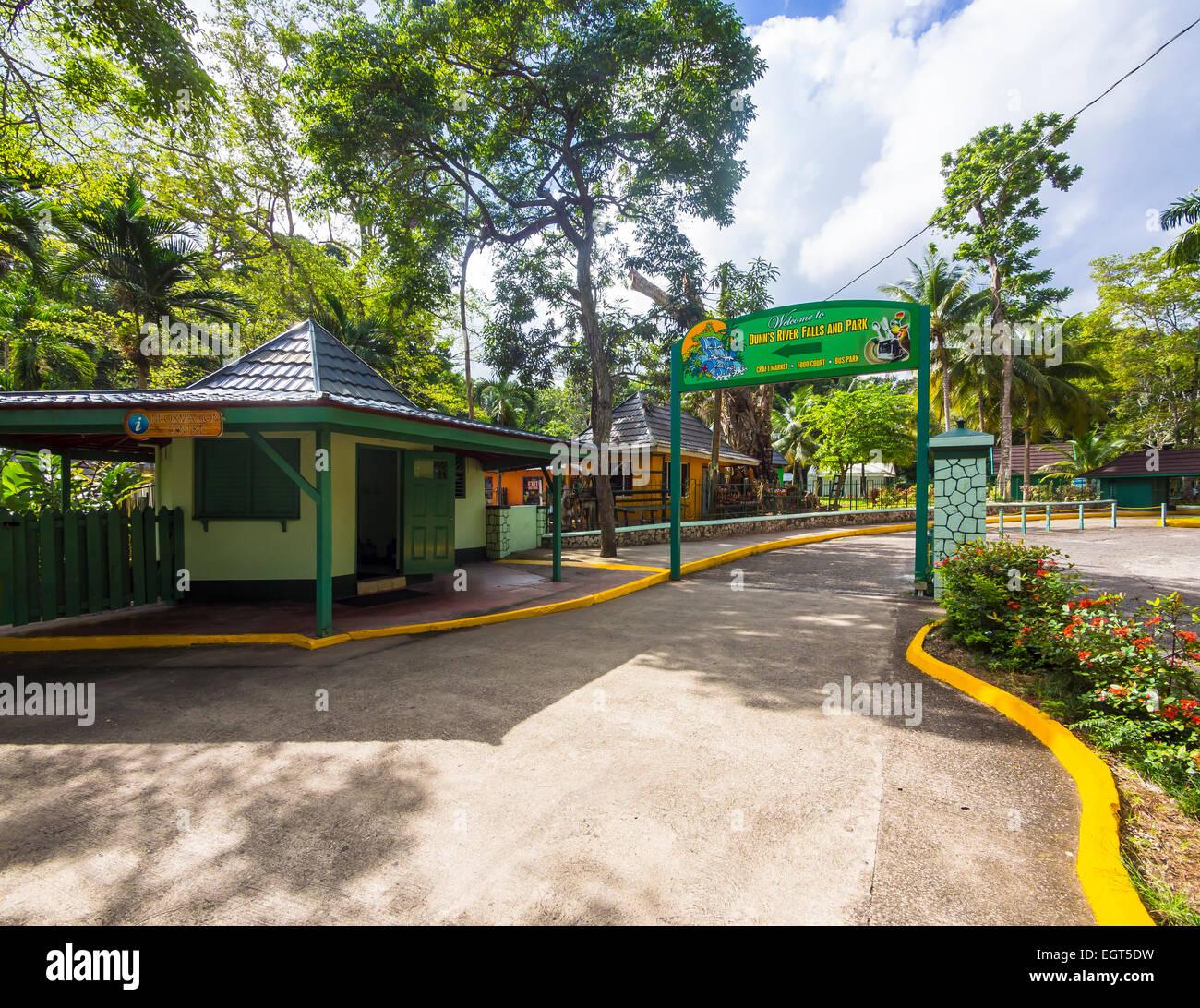 Entrance to the Dunn's River Falls, Ocho Rios, Saint Ann Parish, Jamaica - Stock Image
