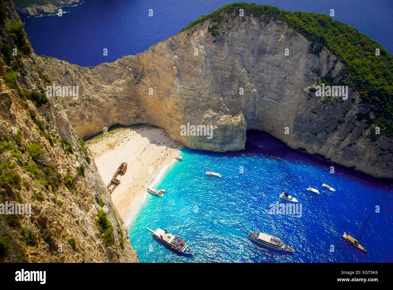 Navagio Beach - Shipwreck Beach, Zakynthos Island, Greece. The most beautiful beaches in the world. - Stock Image