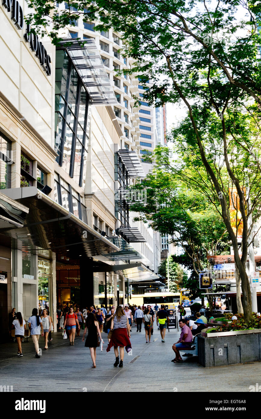 Queen Street Mall, a popular shopping street in Brisbane Central Business District in summer 2015. - Stock Image