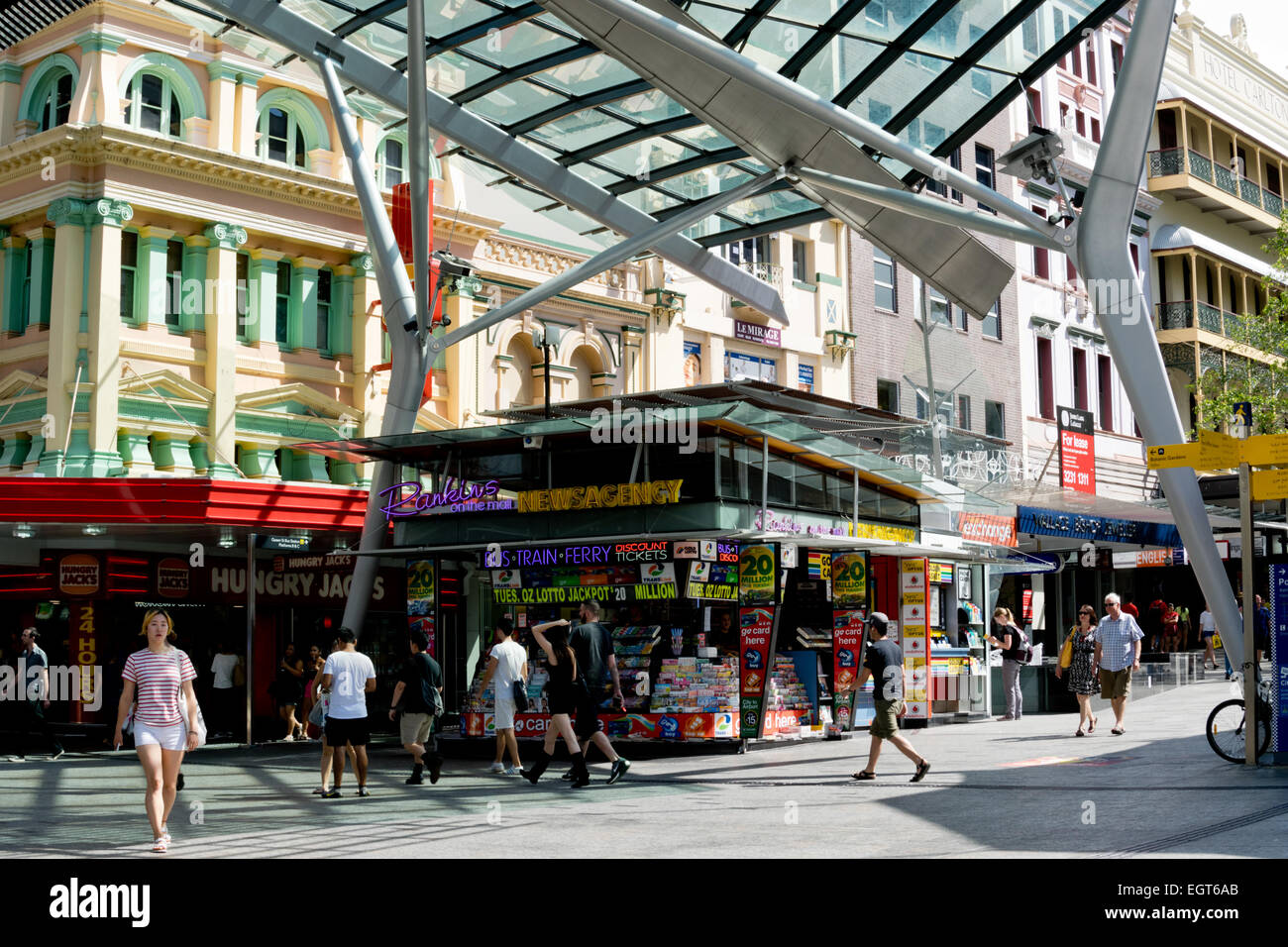 Junction of Queen Street and Albert Street in Brisbane, a popular shopping area in Brisbane Central Business District - Stock Image