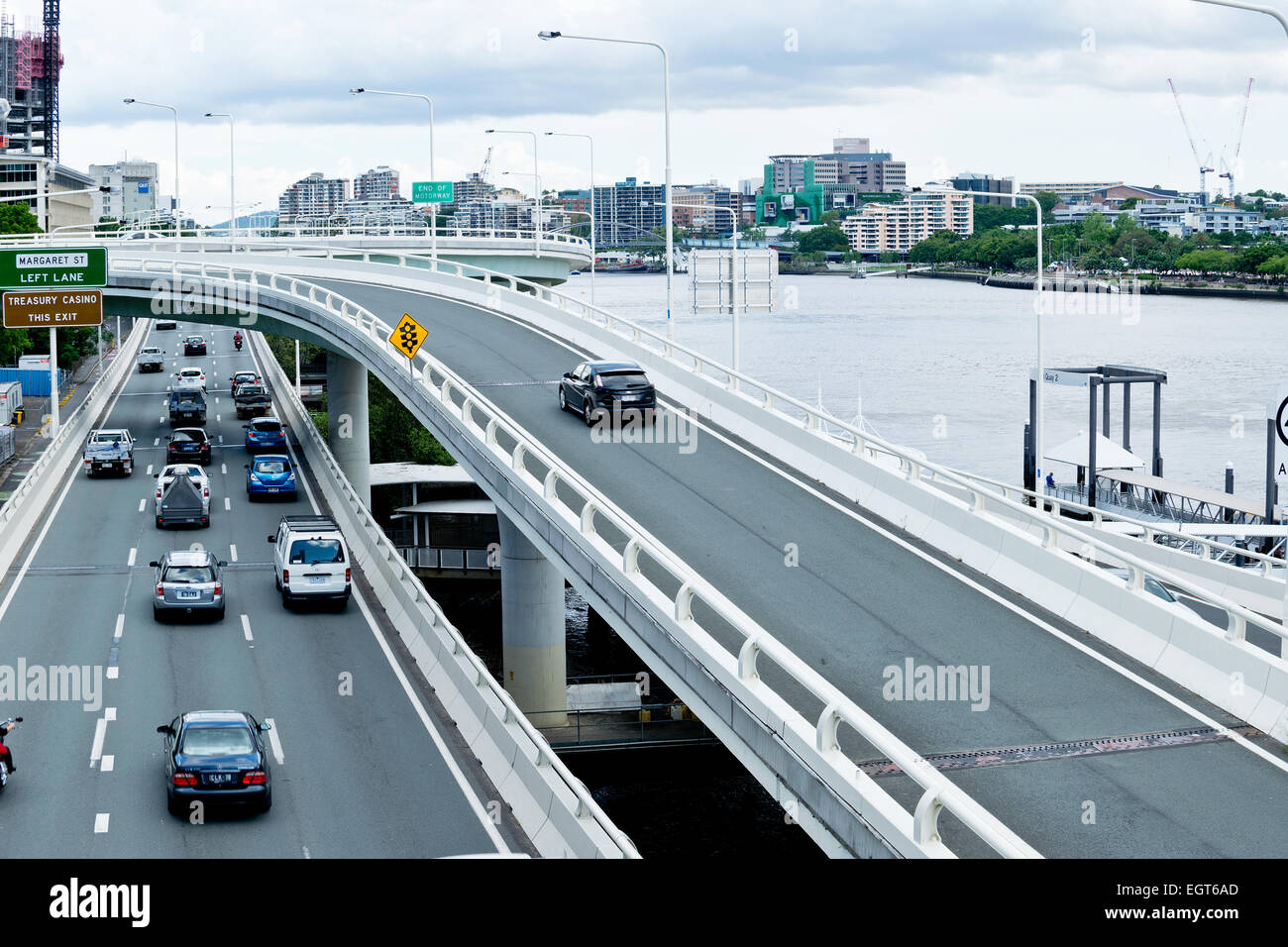 View from Victoria Bridge towards Pacific Motorway in Brisbane Central Business District - Stock Image