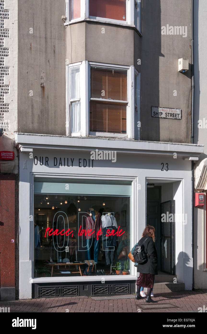 Our Daily Edit, ODE, clothing shop in Brighton. - Stock Image