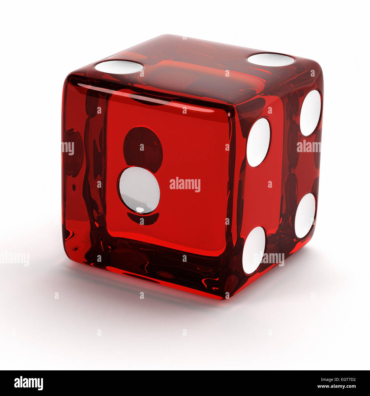 Semi transparent red die - Stock Image