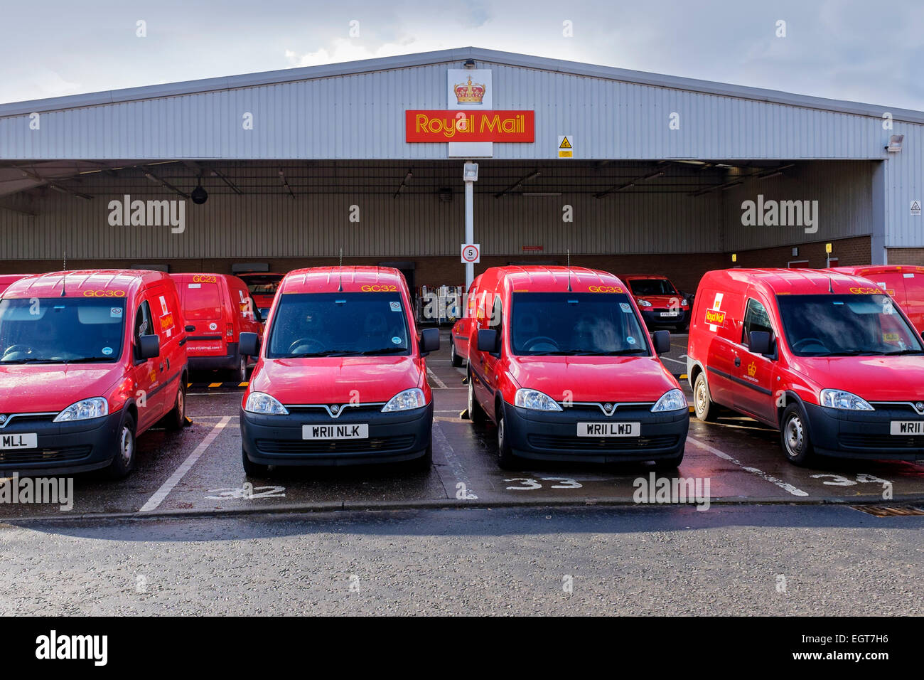 Post Office Delivery Vans At The Depot, Glasgow, Scotland, UK   Stock Image