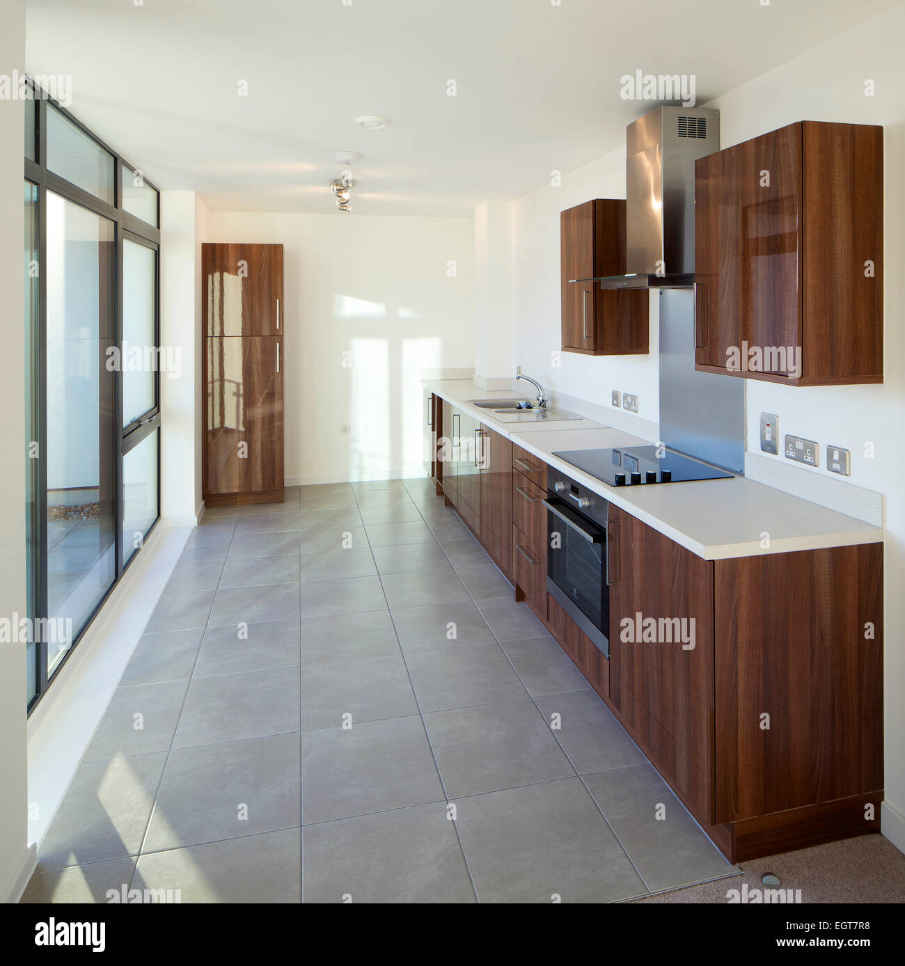 Fitted Kitchen In Show Home Development Of Houses, Flats And A Leisure  Centre By Wates Construction For John Laing, Croydon, London, UK