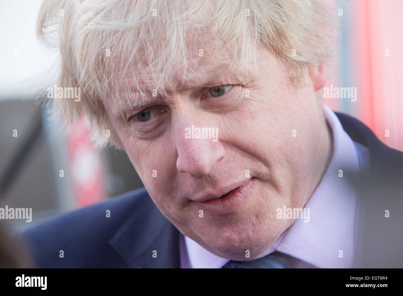 London Mayor,Boris Johnson,speaks at an event promoting cycle hire in London - Stock Image