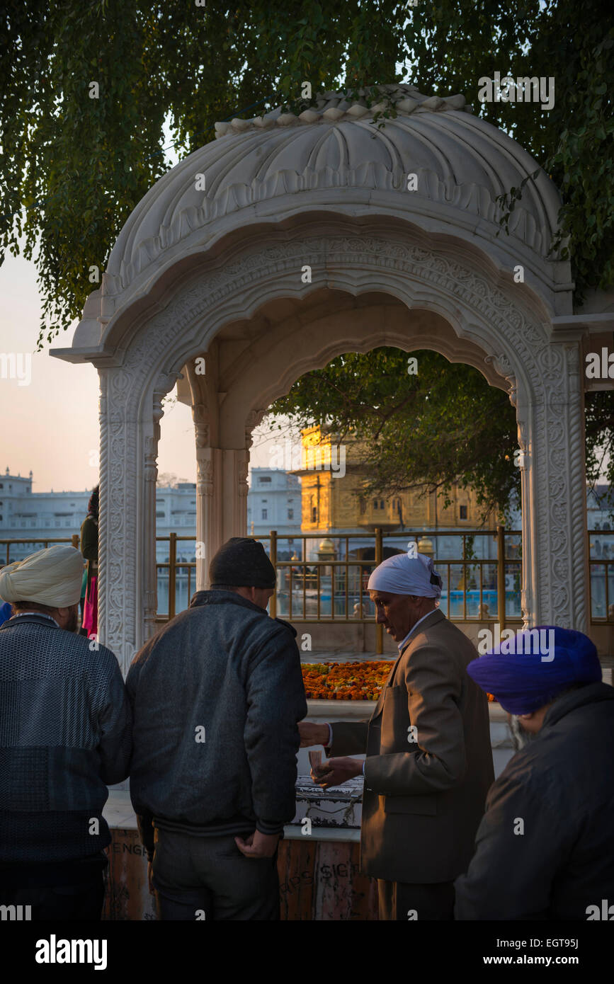 Men making donations at a shrine in The Golden Temple, Amritsar, India - Stock Image