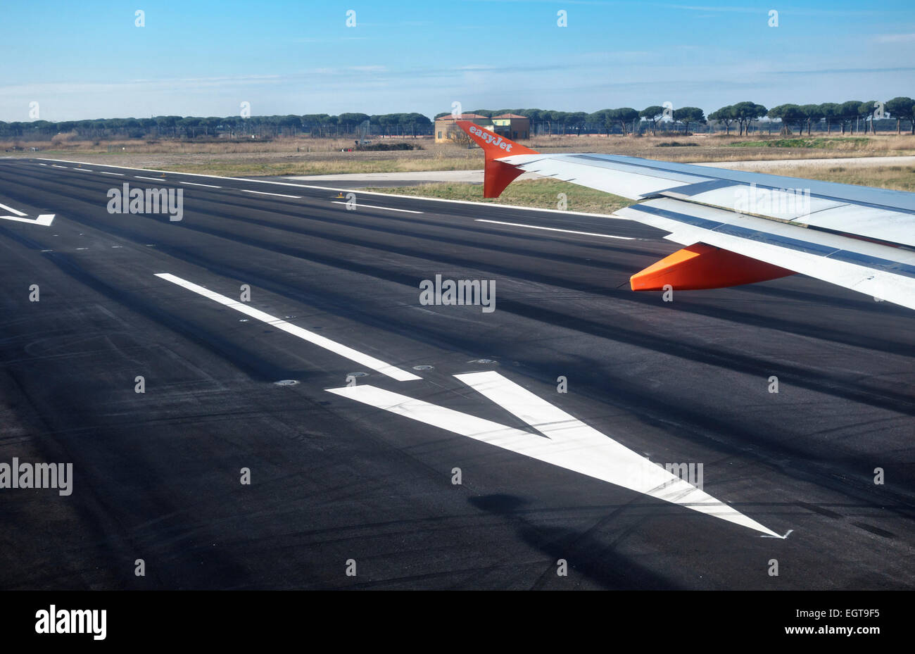 An Easyjet plane taxiing onto the runway before takeoff - Stock Image