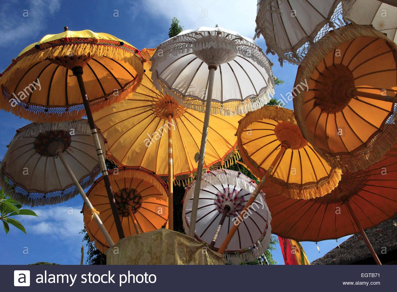 Indonesia, Bali, Mas, temple festival, umbrellas, odalan, Kuningan holiday, - Stock Image