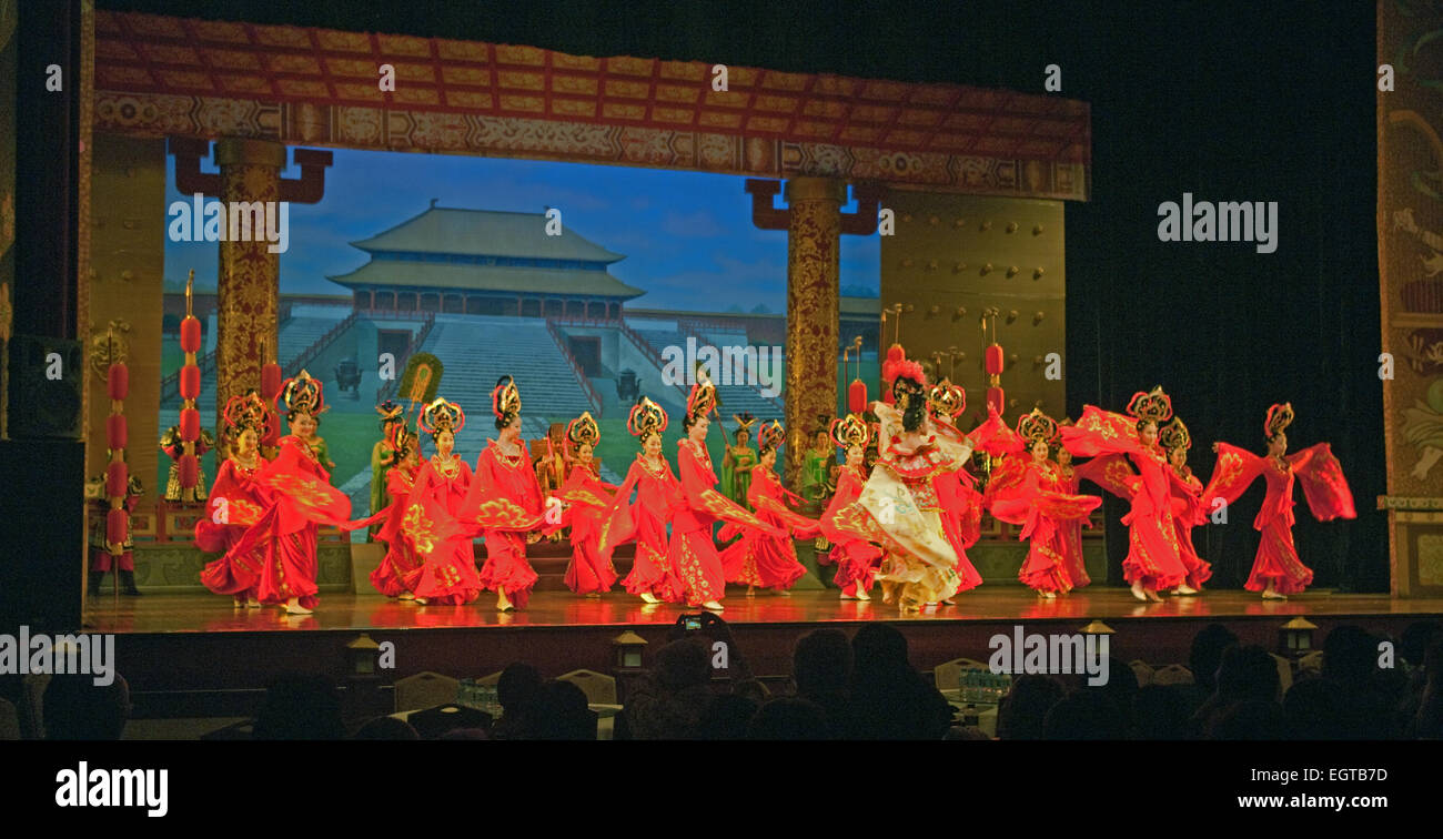 Tang Dynasty Folklore Show Chinese Myths Dance and Folklore Show Xian Shaanxi China Asia - Stock Image