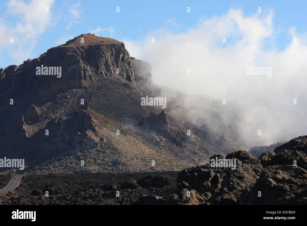 Mists over mountains teide national park - Stock Image
