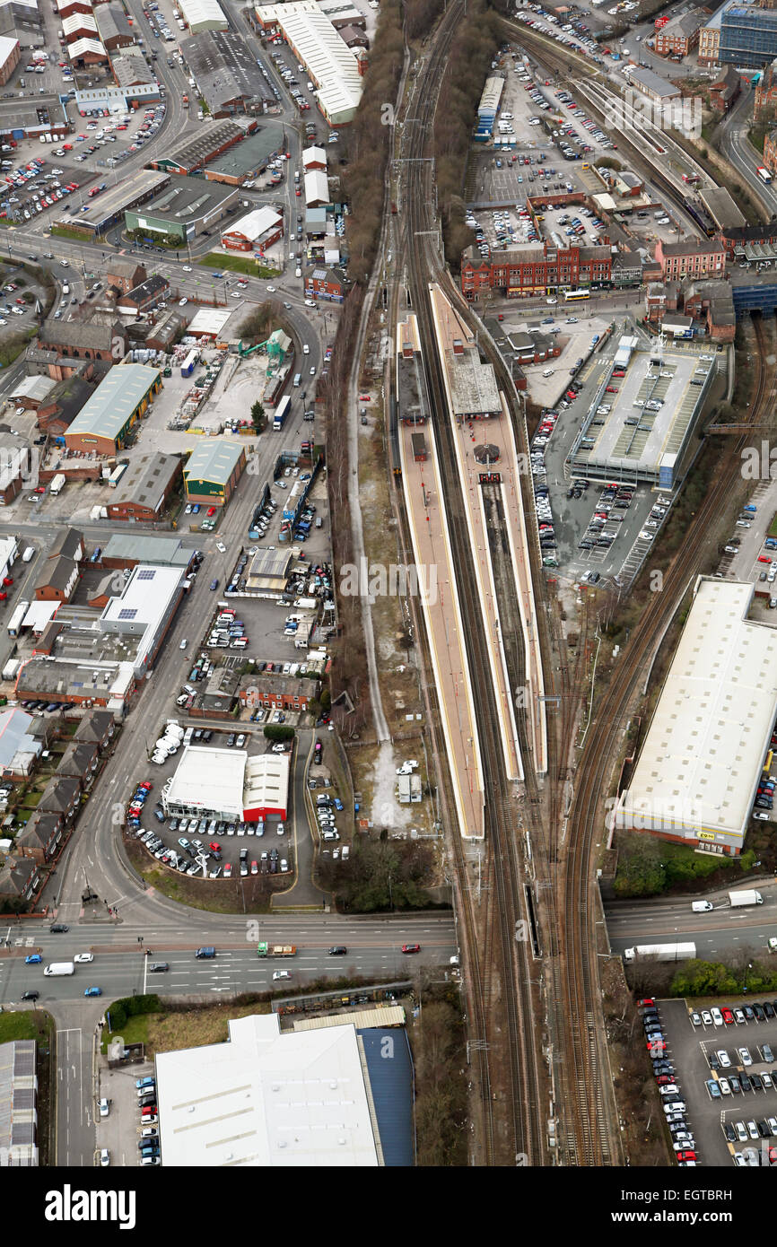 aerial view of Wigan North Western railway station, UK - Stock Image