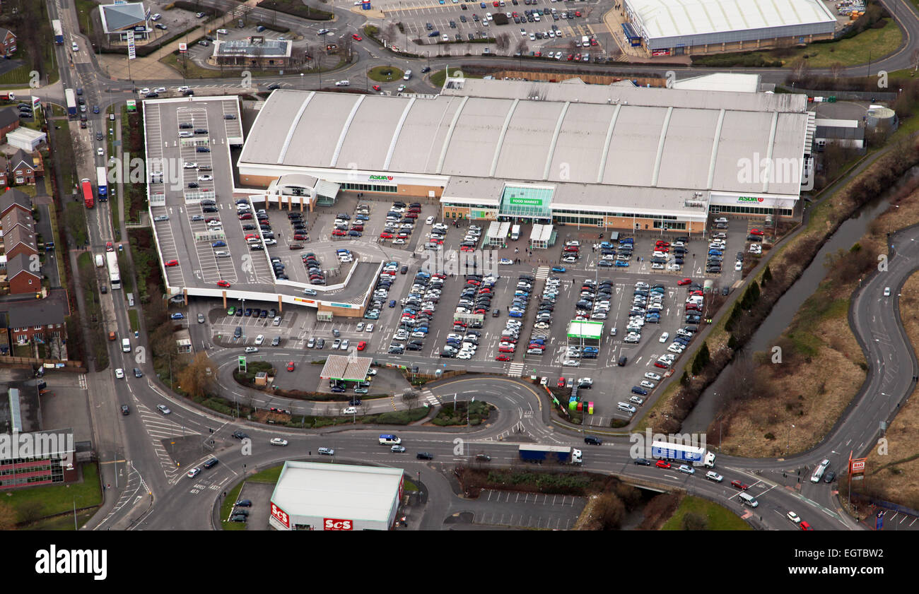 aerial view of the Asda superstore at Wigan, Lancashire - Stock Image