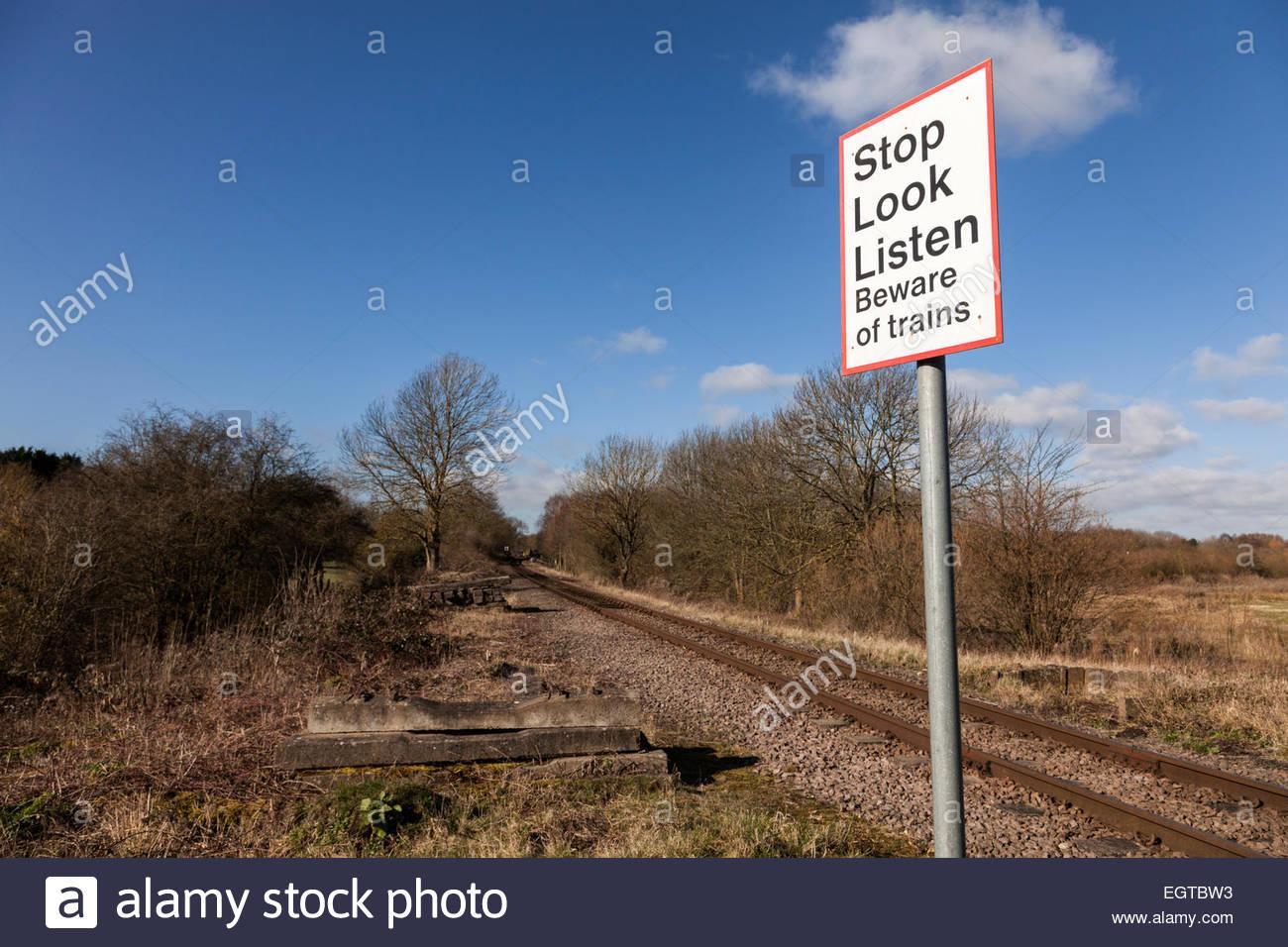Stop Look Listen - Beware of Trains Sign - Stock Image