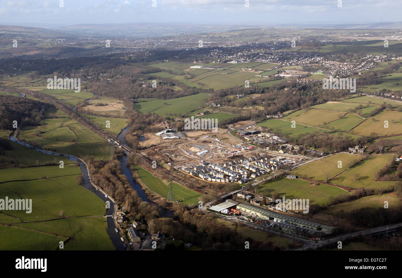 aerial view of greenbelt land development for housing in the UK - Stock Image